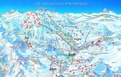 náhled mapky lyžařského střediska Oberlech  Rakousko