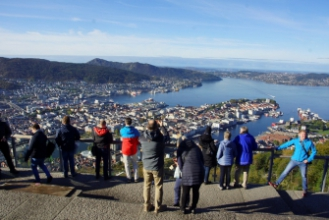 Bergen - Mt. Floyen, výjezd lanovkou